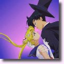 Tuxedo Mask about to kiss Sailor Moon
