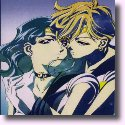 Sailor Uranus holding Sailor Neptune